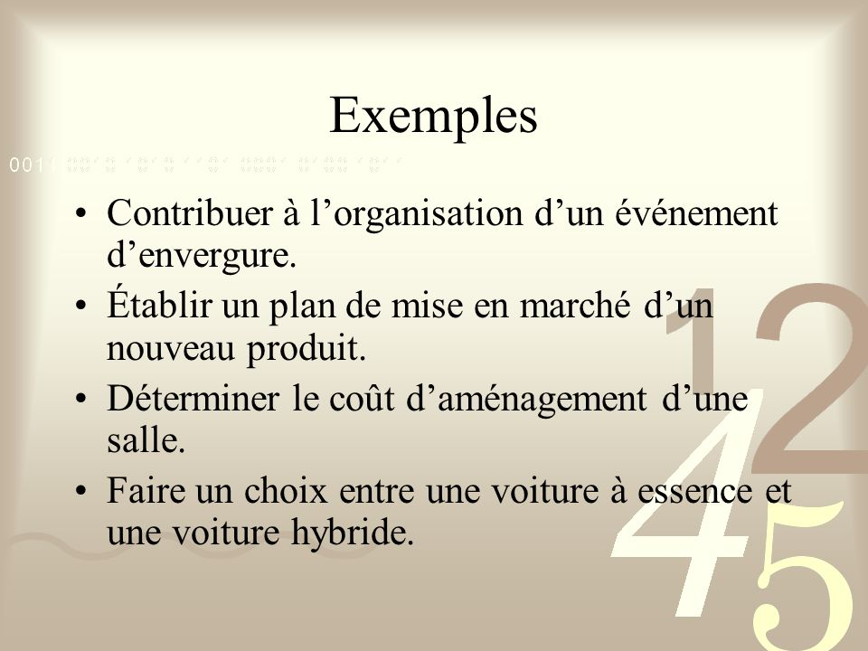 Exemples Contribuer à l'organisation d'un événement d'envergure.