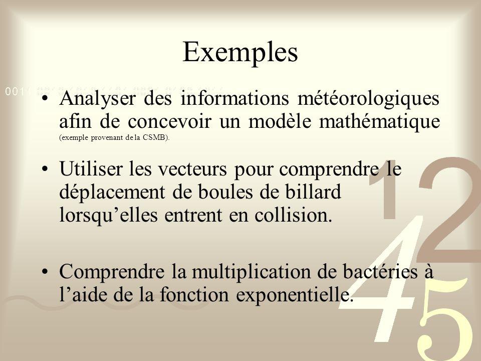 Exemples Analyser des informations météorologiques afin de concevoir un modèle mathématique (exemple provenant de la CSMB).