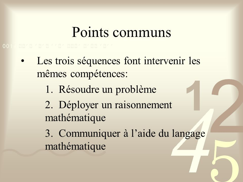 Points communs Les trois séquences font intervenir les mêmes compétences: 1. Résoudre un problème.