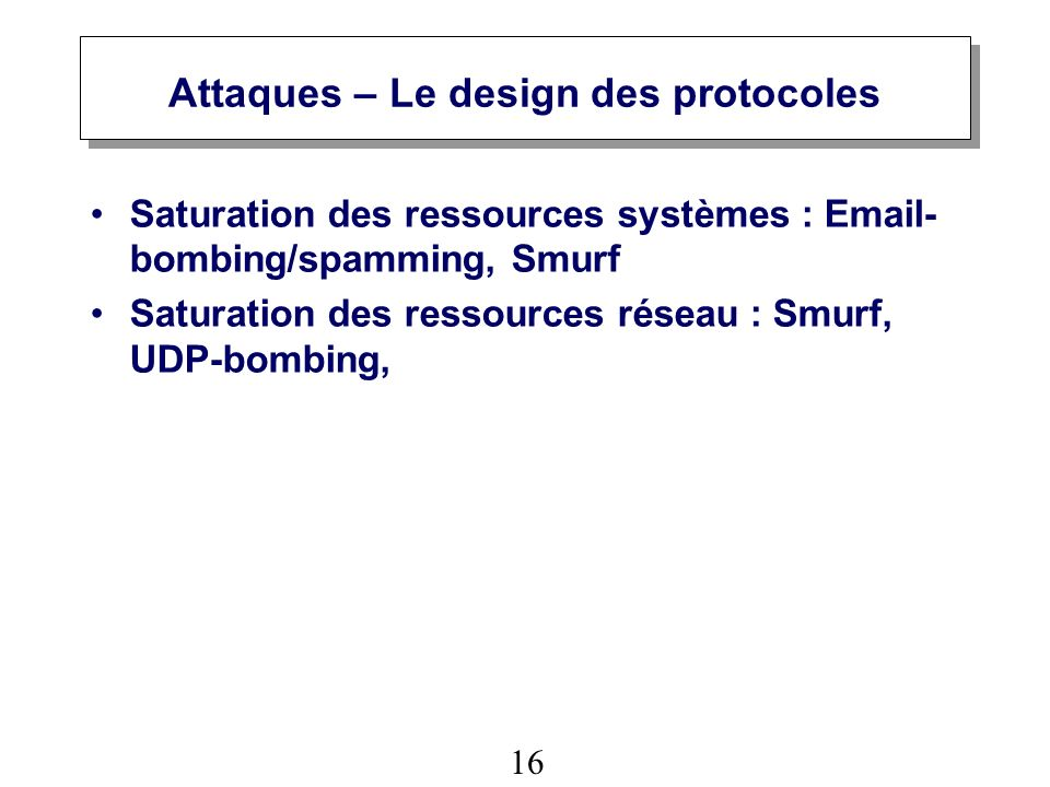Attaques – Le design des protocoles