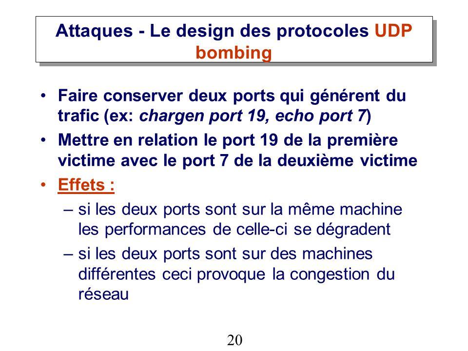 Attaques - Le design des protocoles UDP bombing