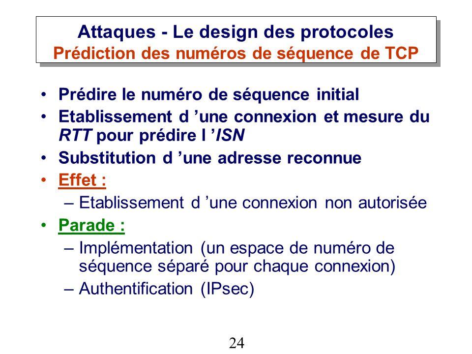 Attaques - Le design des protocoles Prédiction des numéros de séquence de TCP