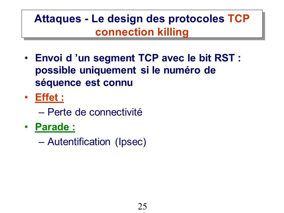 Attaques - Le design des protocoles TCP connection killing