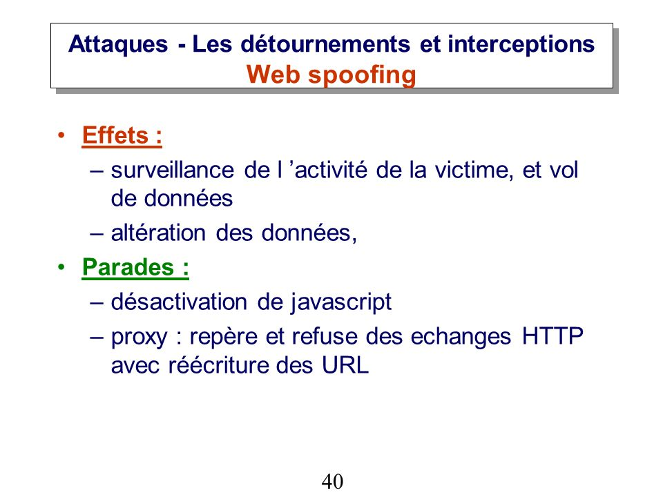 Attaques - Les détournements et interceptions Web spoofing