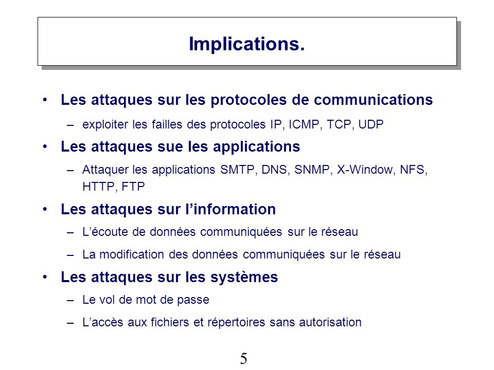 Implications. Les attaques sur les protocoles de communications