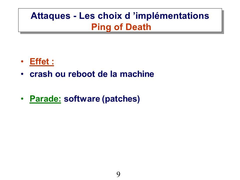 Attaques - Les choix d 'implémentations Ping of Death