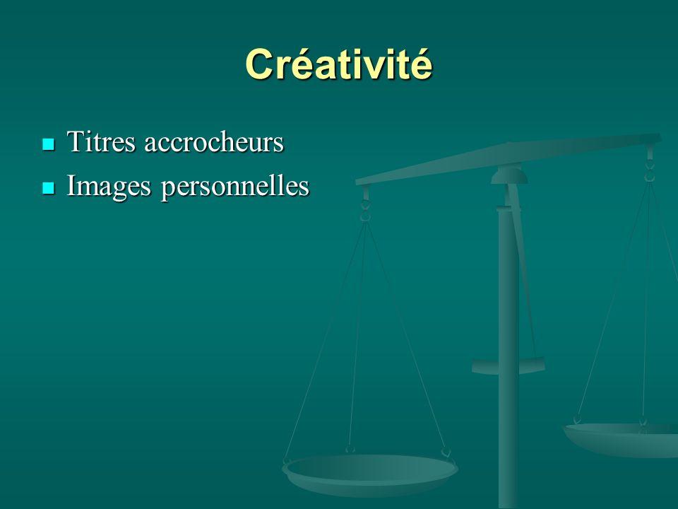 Créativité Titres accrocheurs Images personnelles