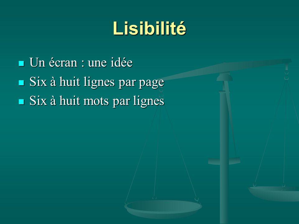 Lisibilité Un écran : une idée Six à huit lignes par page