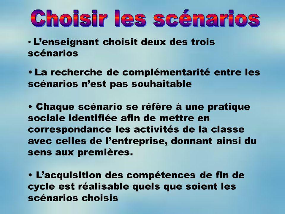 Choisir les scénarios L'enseignant choisit deux des trois scénarios
