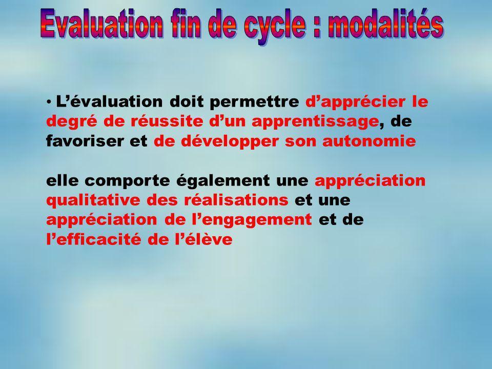 Evaluation fin de cycle : modalités