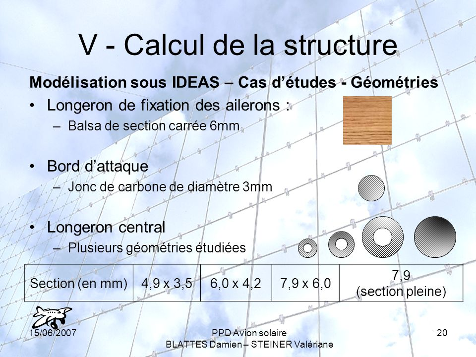 V - Calcul de la structure