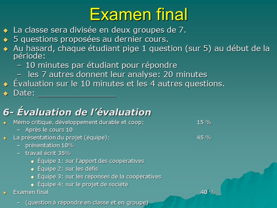 Examen final 6- Évaluation de l'évaluation