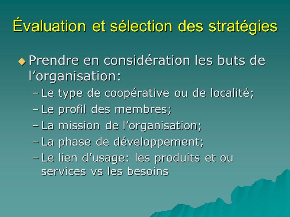 Évaluation et sélection des stratégies