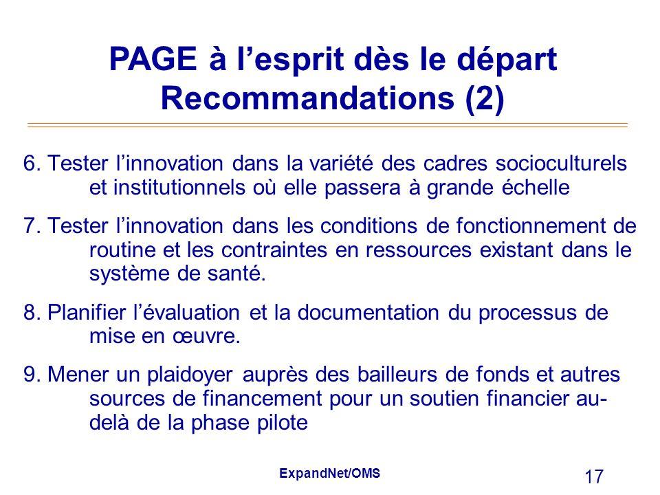 PAGE à l'esprit dès le départ Recommandations (2)