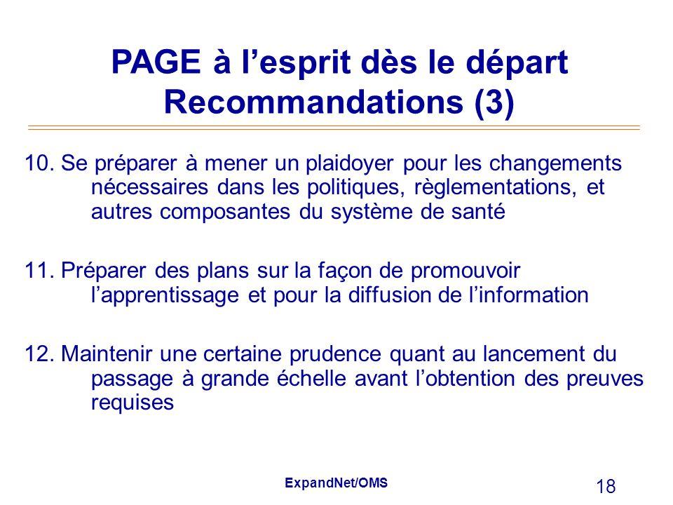 PAGE à l'esprit dès le départ Recommandations (3)