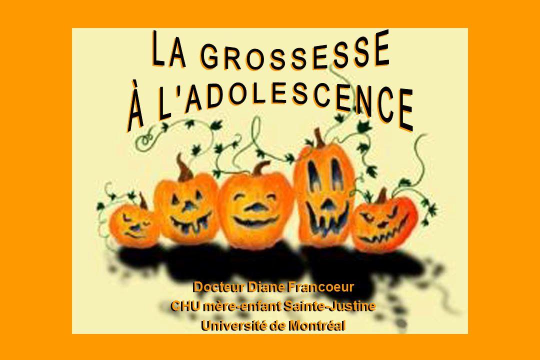 LA GROSSESSE À L ADOLESCENCE Docteur Diane Francoeur