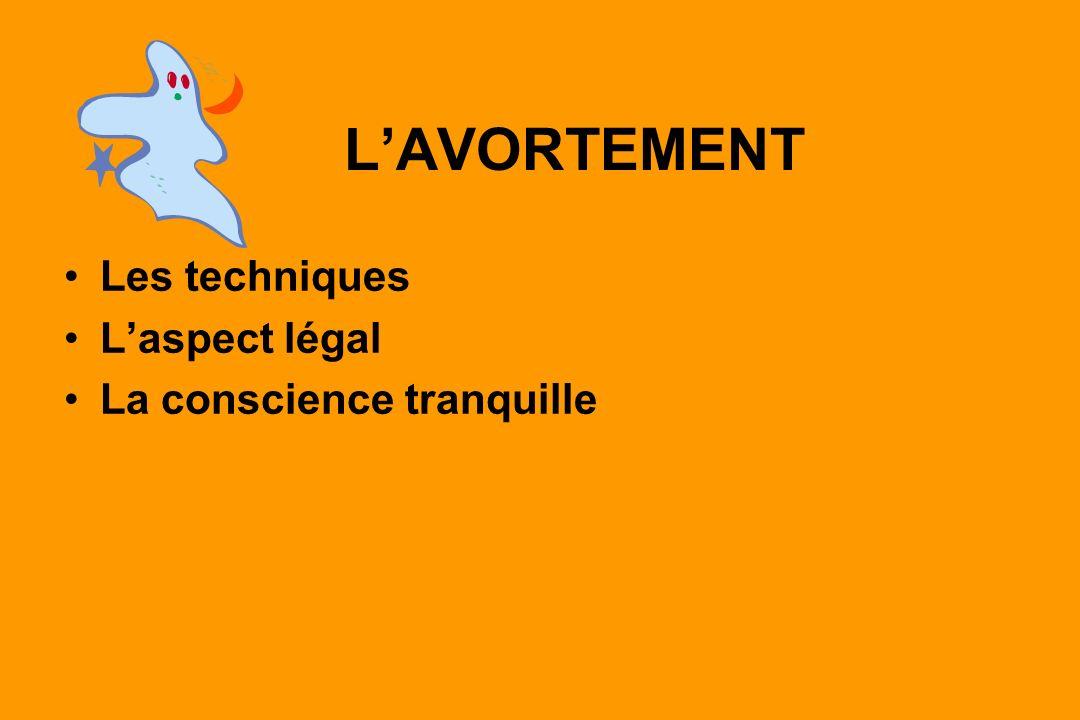 L'AVORTEMENT Les techniques L'aspect légal La conscience tranquille
