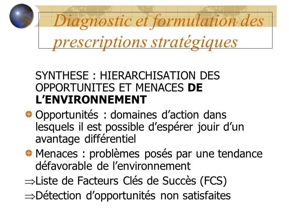 Diagnostic et formulation des prescriptions stratégiques