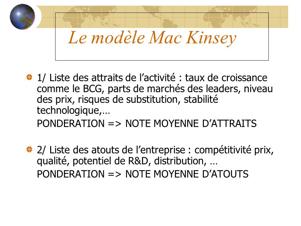 Le modèle Mac Kinsey