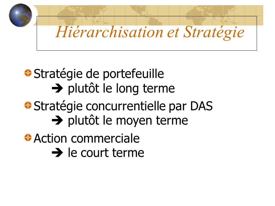 Hiérarchisation et Stratégie
