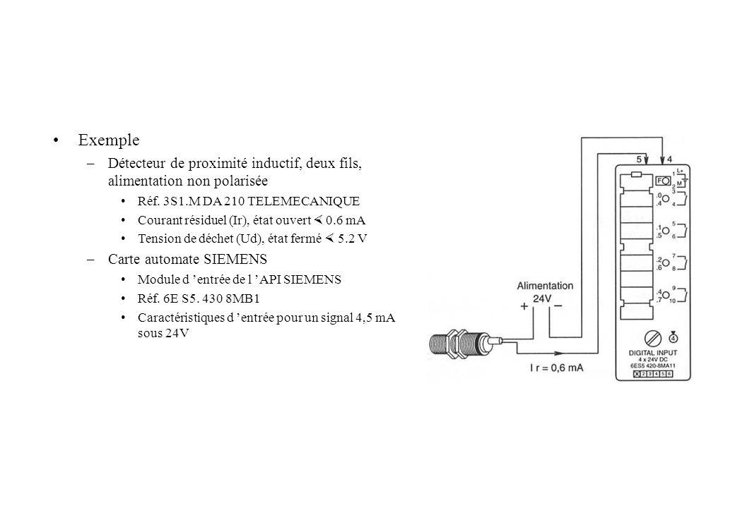 Exemple Détecteur de proximité inductif, deux fils, alimentation non polarisée. Réf. 3S1.M DA 210 TELEMECANIQUE.