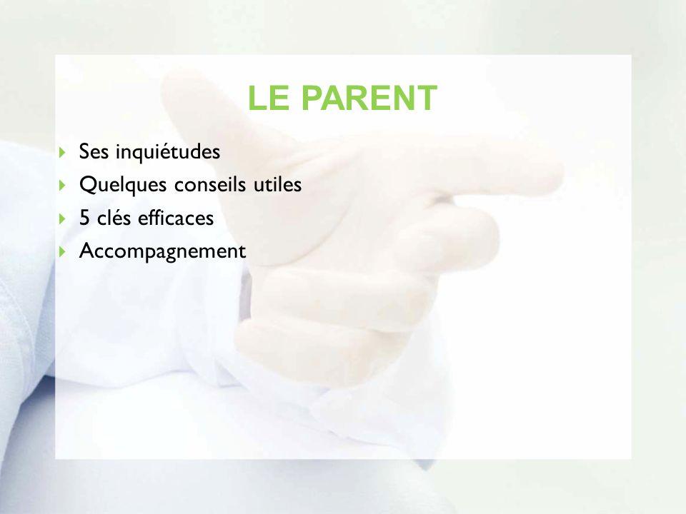 LE PARENT Ses inquiétudes Quelques conseils utiles 5 clés efficaces