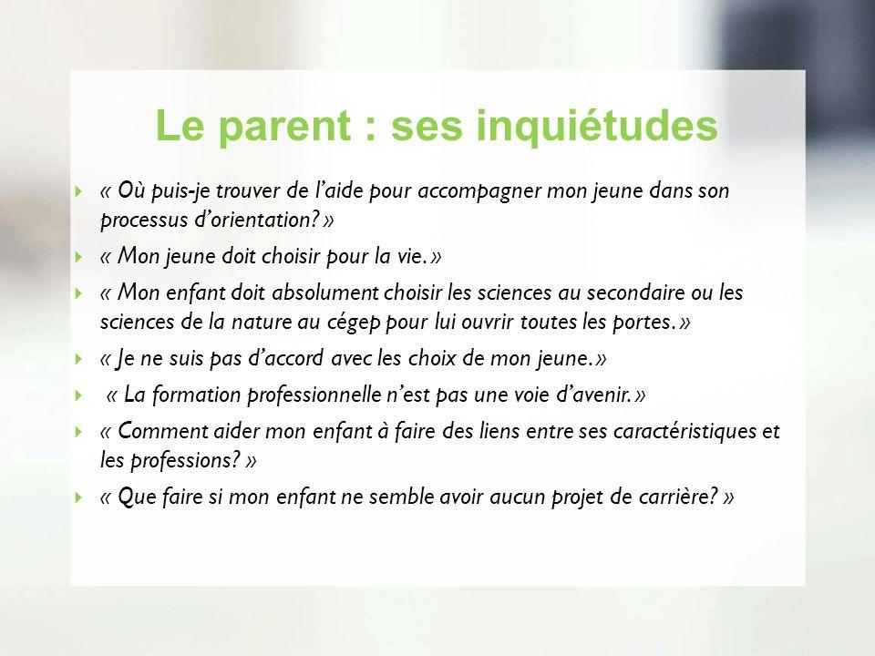 Le parent : ses inquiétudes