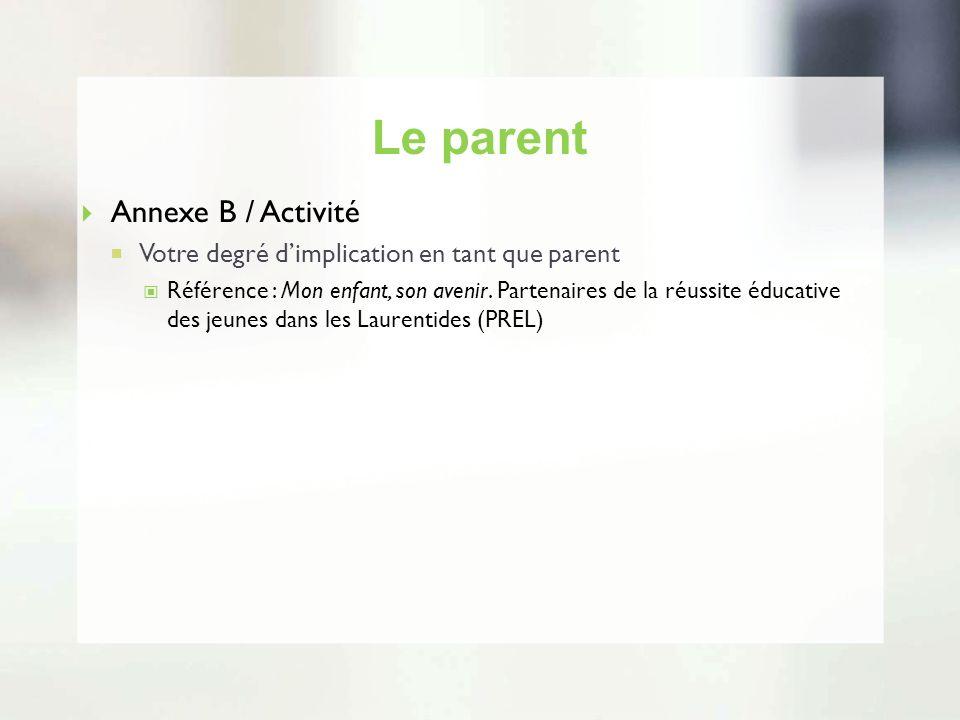 Le parent Annexe B / Activité
