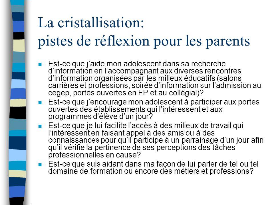 La cristallisation: pistes de réflexion pour les parents