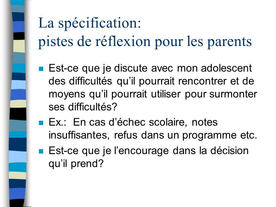 La spécification: pistes de réflexion pour les parents
