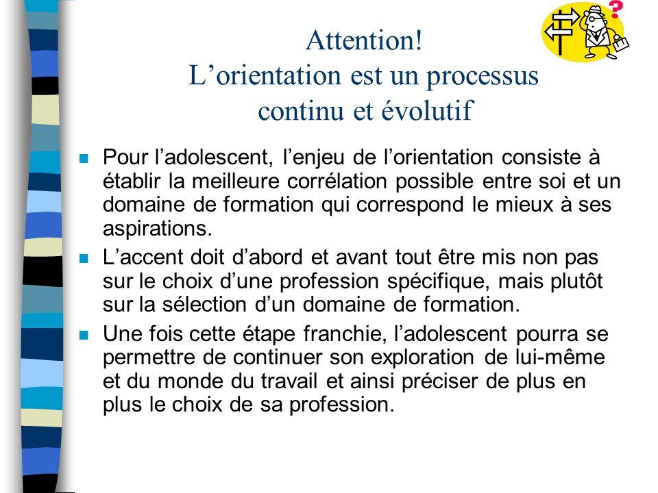 Attention! L'orientation est un processus continu et évolutif