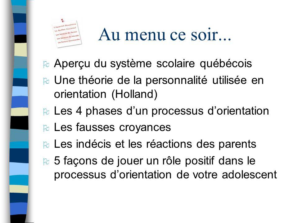 Au menu ce soir... Aperçu du système scolaire québécois