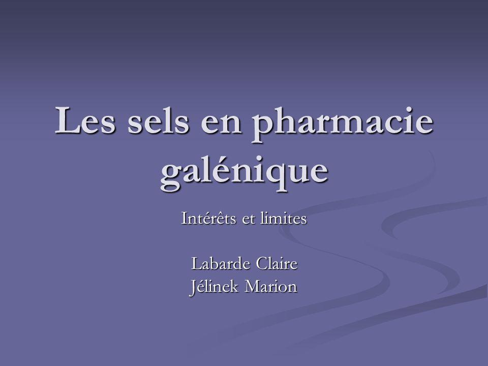 Les sels en pharmacie galénique