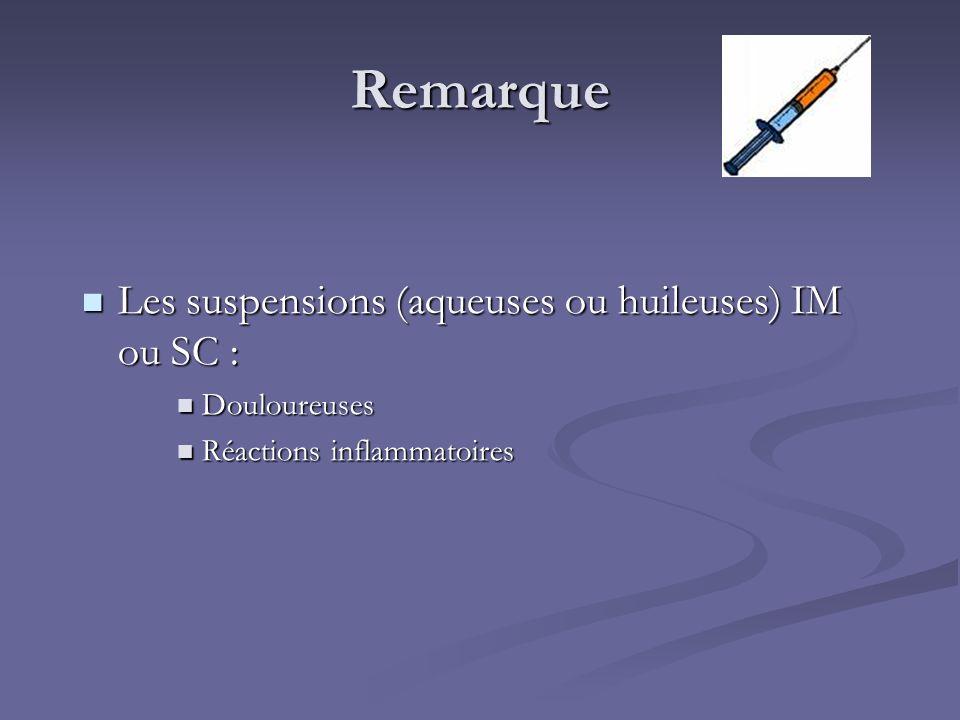 Remarque Les suspensions (aqueuses ou huileuses) IM ou SC :
