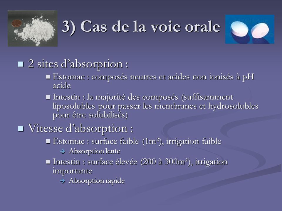 3) Cas de la voie orale 2 sites d'absorption : Vitesse d'absorption :