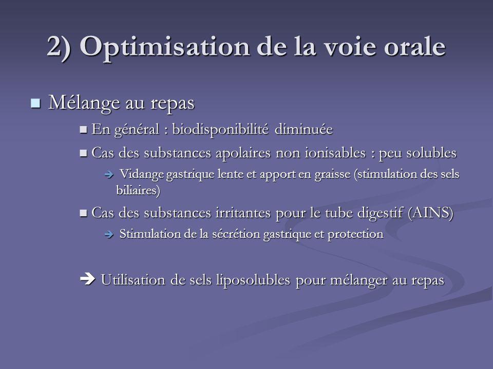 2) Optimisation de la voie orale