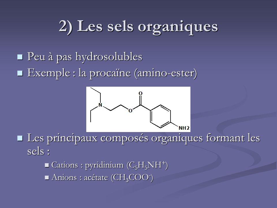 2) Les sels organiques Peu à pas hydrosolubles