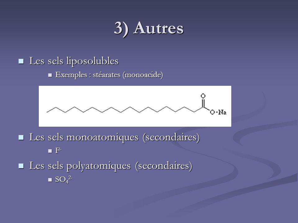 3) Autres Les sels liposolubles Les sels monoatomiques (secondaires)