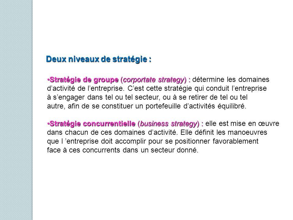 Deux niveaux de stratégie :