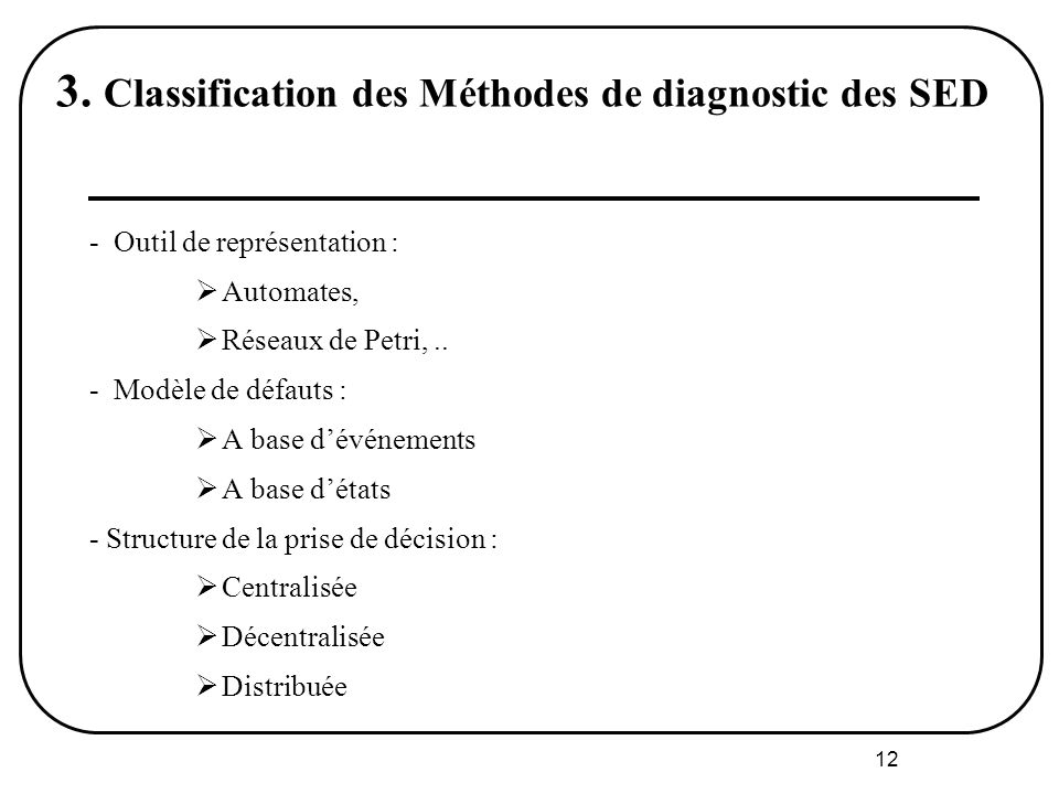 3. Classification des Méthodes de diagnostic des SED