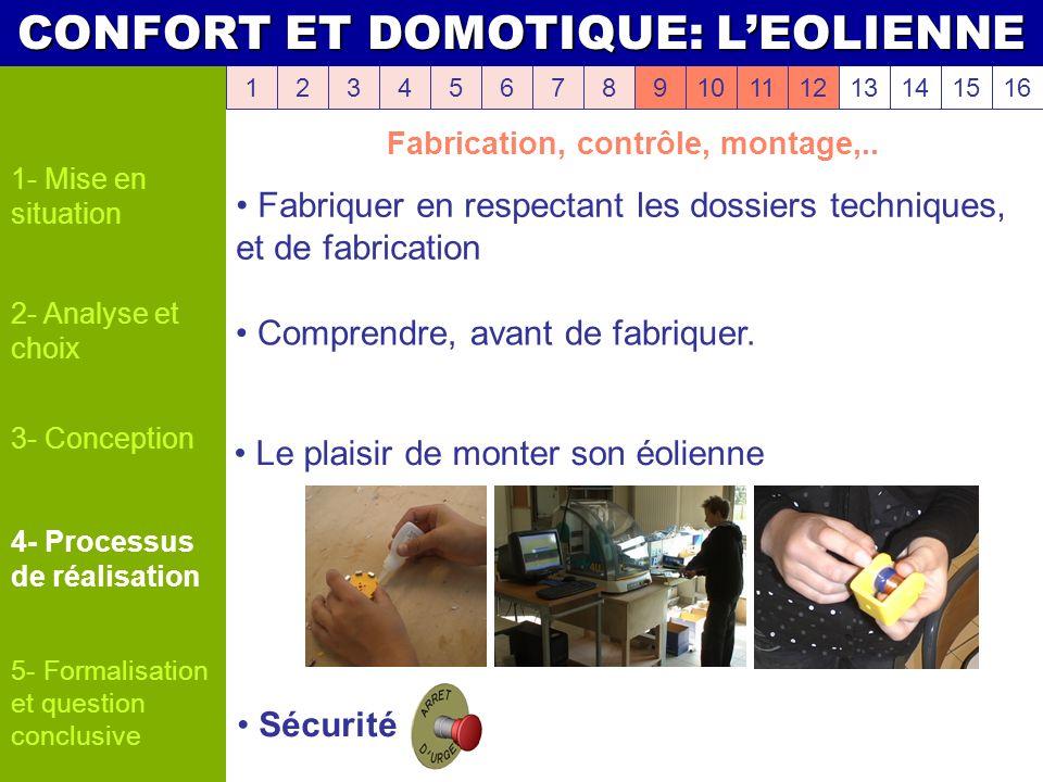 Fabrication, contrôle, montage,..