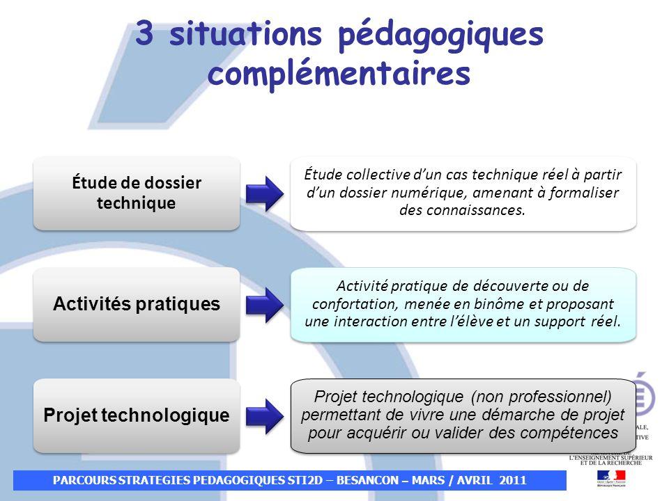 3 situations pédagogiques complémentaires Étude de dossier technique