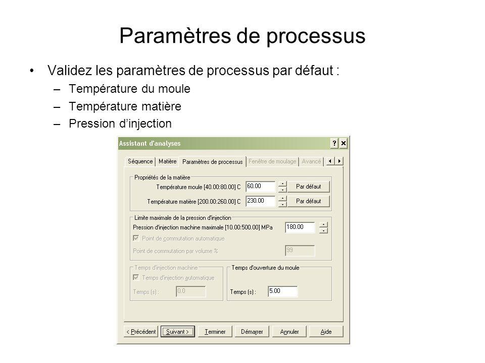 Paramètres de processus