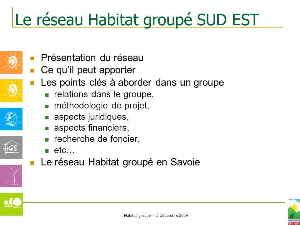 Le réseau Habitat groupé SUD EST