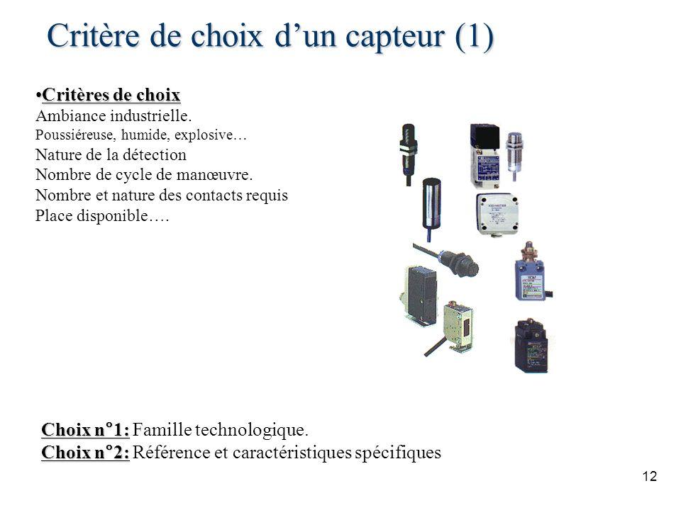 Critère de choix d'un capteur (1)