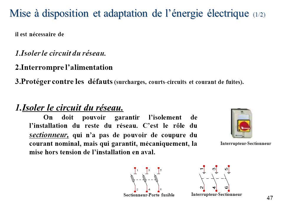 Mise à disposition et adaptation de l'énergie électrique (1/2)