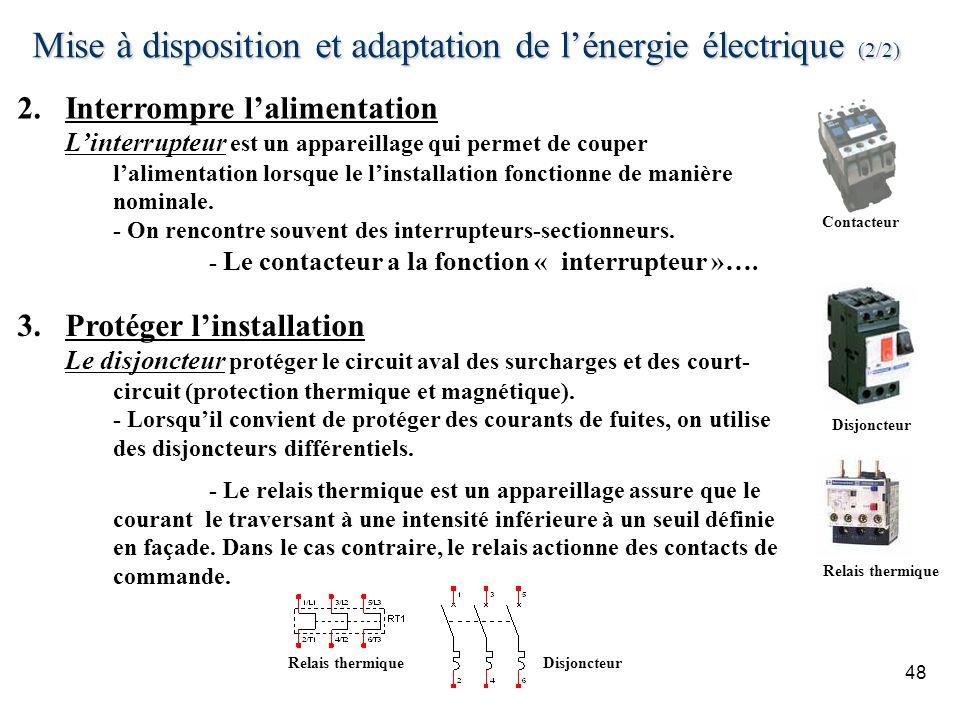 Mise à disposition et adaptation de l'énergie électrique (2/2)