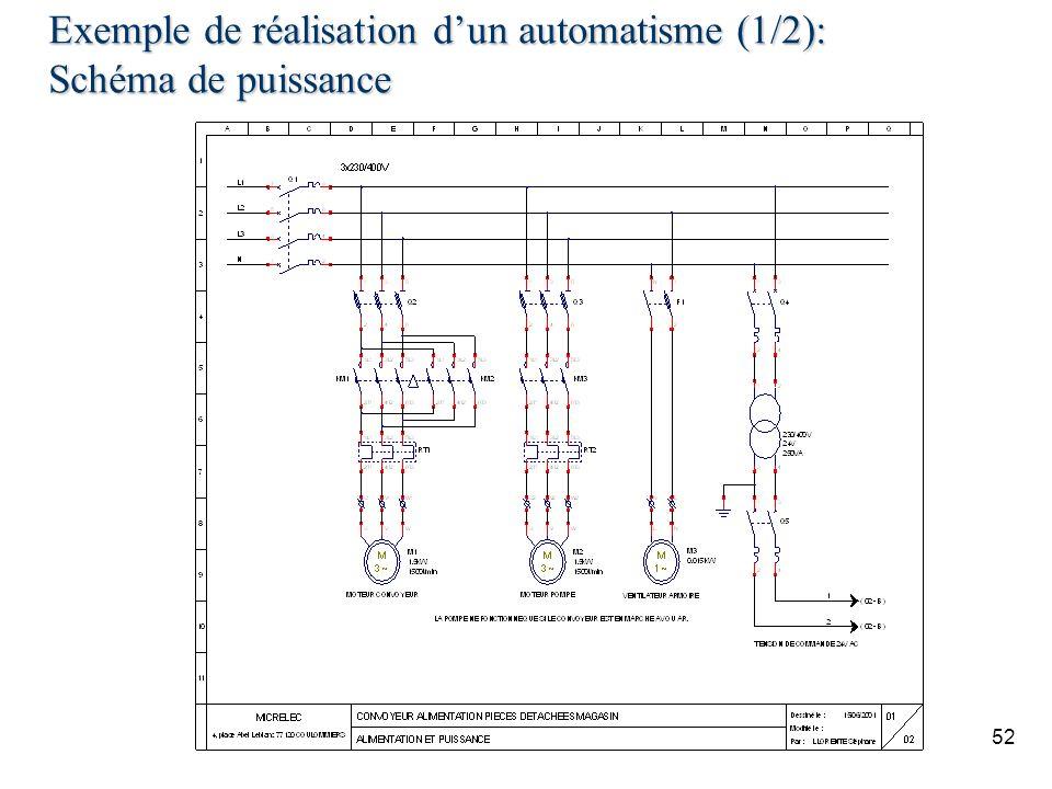 Exemple de réalisation d'un automatisme (1/2): Schéma de puissance