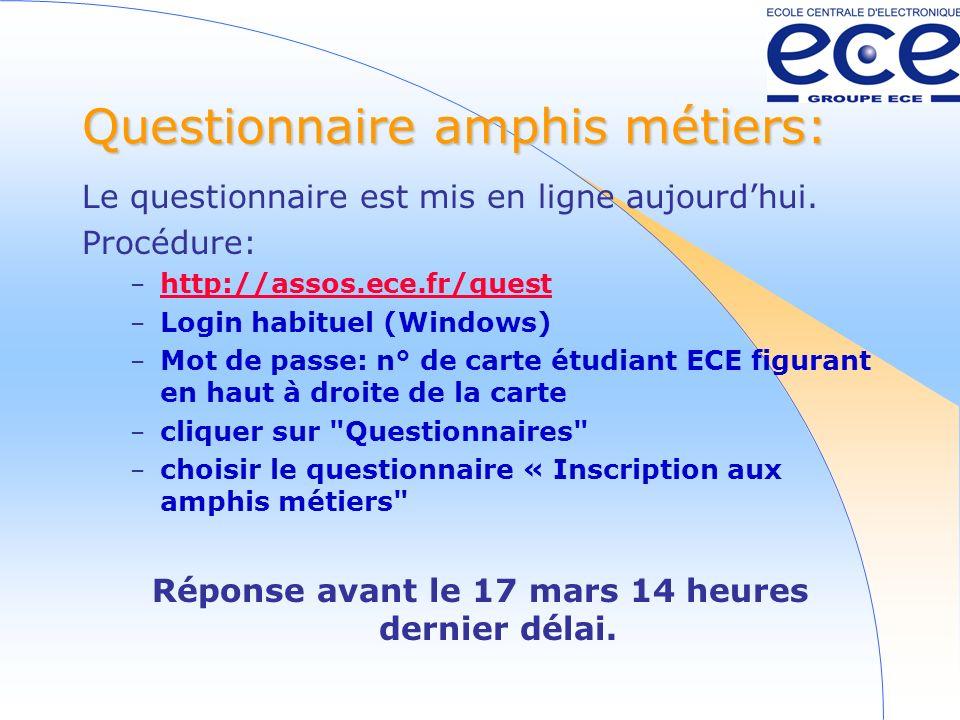 Questionnaire amphis métiers: