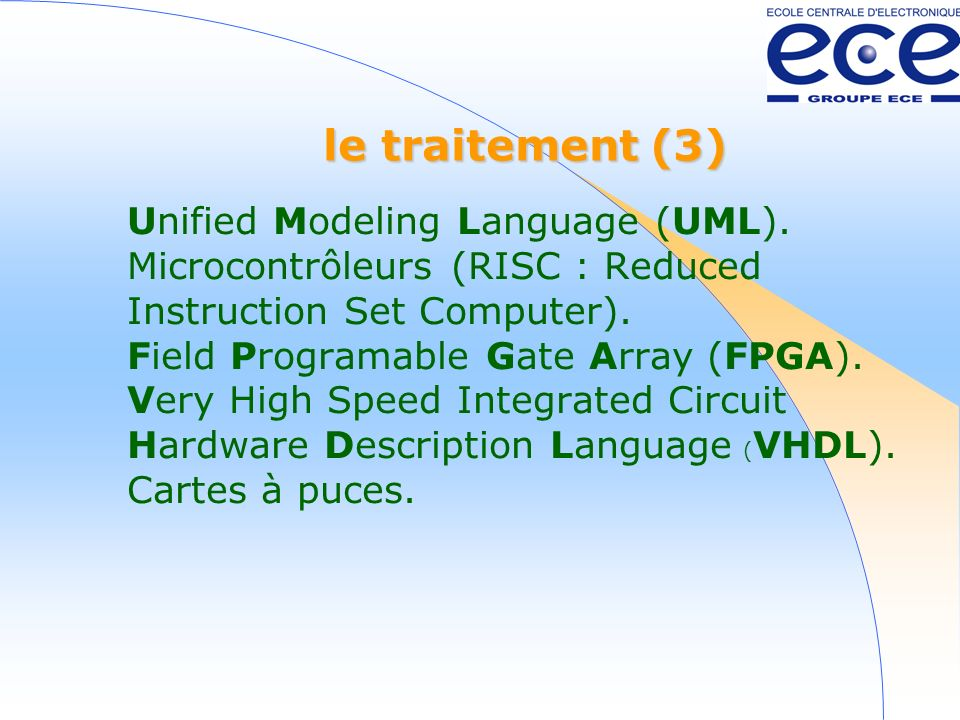 le traitement (3) Unified Modeling Language (UML).